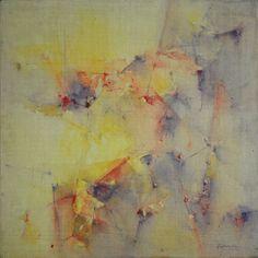 """""""Apenas la vislumbre"""" - Heriberto Zorrilla - Tintas y lápiz de color sobre tela 40 x 40 cm 1989 www.esencialismo.com"""