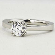 Platinum Cherish Ring. Set with a 0.55 Carat, Round, Super Ideal Cut, F Color, VS2 Clarity Diamond #BrilliantEarth
