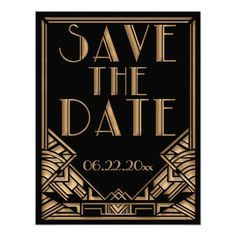 """A bold and elegant, vintage style wedding Save the Date announcement with a roaring twenties """"Great Gatsby"""" theme in black and gold tones. A black background highlights the intricate geometric, Art Deco style border in golden beige tones. Decorative, period style fonts have been selected for your event wording."""