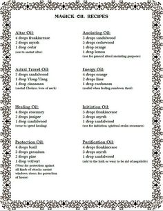 Magical Oil Recipes