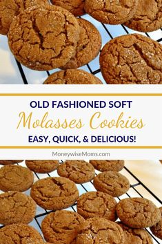 Old Fashioned Soft Molasses Cookies Just like Grandma used to make! These Soft Molasses cookies are spicy and chewy. - Old Fashioned Soft Molasses Cookies - a favorite family recipe my mom loves to make for my kids! Spicy and chewy, so delicious! Molasses Recipes, Ginger Molasses Cookies, Molasses Cookie Recipe, Old Fashioned Molasses Cookies, Chewy Ginger Cookies, Ginger Snap Cookies, Baking Recipes, Cookie Recipes, Dessert Recipes