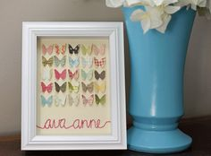Really cute embroidered butterfly baby girl gift. Cute Baby Gifts, Baby Girl Gifts, Butterfly Baby, Butterfly Bathroom, Butterfly Frame, Paper Butterflies, Butterfly Artwork, Baby Cards, Baby Love