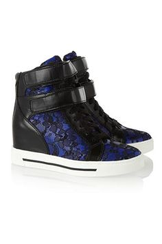 Marc by Marc Jacobs Leather and lace wedge high-top sneakers High Top Sneakers, Wedge Heel Sneakers, Sneaker Heels, Best Sneakers, Wedge Shoes, Lace Sneakers, Shoes High Tops, Leather Sneakers, Leather And Lace
