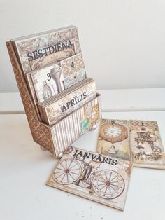 Handmade steampunk perpetual calendar using Stamperia Voyages Fantastiques papers and My Creative Spirit MDF kit Handmade Notebook, Handmade Books, Handmade Art, Handmade Gifts, Mixed Media Cards, Fat Art, Recycled Books, Gifts For An Artist, Perpetual Calendar