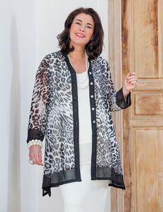 Kasbah black/leopard voile Nehru jacket