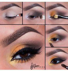 Love This Yellow Eye Makeup Pictorial. Eye Makeup Steps, Makeup Eye Looks, Cute Makeup, Gorgeous Makeup, Motives Makeup, Eyeshadow Makeup, Drugstore Makeup, Yellow Eye Makeup, Makeup Pictorial