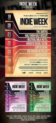 I really like the 3D ribbons and how they come up to show calendar dates.  GraphicRiver Indie Flyer Poster 3258013 | Event calendar flyer week events