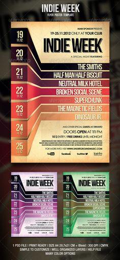 Summer Events Calendar Event Posters by Lauren Hill, via Behance - calendar flyer template