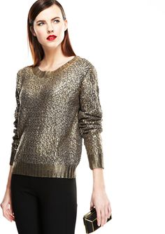 LUSH Long Sleeve Metallic Sweater
