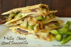 I'm craving this quesadilla all over again! If you love Philly Cheese Steak Sandwiches…you will LOVE this quesadilla! It's the melted cheese, tender crisp veggies and savory roast…