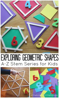 (Great activities to do with kids to learn or reinforce shapes). Shape Math Activities for Kids - So many fun ways for preschool, kindergarten, grade, and grade kids to explore geometric shapes in this stem activities for kids. Math Activities For Kids, Math For Kids, Kids Learning, Learning Shapes, Math Activities For Preschoolers, Shapes For Preschool, Stem Activities For Kindergarten, Addition Activities, Stem Preschool