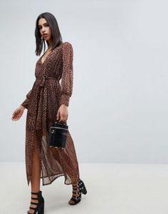 Shop ASOS DESIGN leopard print maxi dress with belt at ASOS. Discover  fashion online. 463e19edd