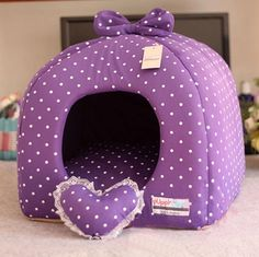 Rose/Purple Princess Pet Dog Cat Soft Bed House Tent Small+toy #Kojima