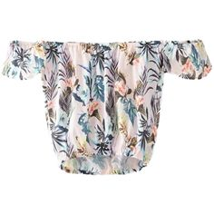 Blouse Slash Neck Short Sleeve Floral Cropped Top ($18) ❤ liked on Polyvore featuring tops, blouses, short sleeve crop top, white blouses, short sleeve blouse, boat neck blouse and short sleeve tops