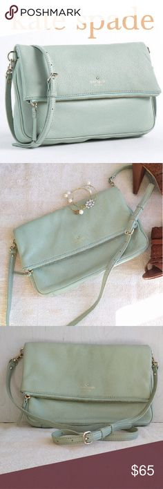 """KATE SPADE mint mojito green crossbody This bag is in excellent condition. SUPER clean inside and out. Soft and supple genuine leather. Large zippered fold over compartment and an easy access under fold pocket with a magnetic closure. Measures 12.5"""" wide and 8"""" deep when folded. Adjustable cross body strap. kate spade Bags Crossbody Bags"""