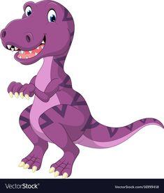 Cartoon dinosaur tyrannosaurus vector image on VectorStock Dinosaur Images, Dinosaur Pictures, Cartoon Dinosaur, Cartoon Art, Dinosaur Kids Room, Dinosaur Crafts, The Good Dinosaur, Applique Patterns, Applique Quilts