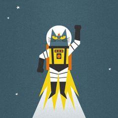 hey nerds! Gifs, Graphic Design Illustration, Space Illustration, Cat Illustrations, Space Cat, Cat Gif, Retro, Animated Gif, Character Design