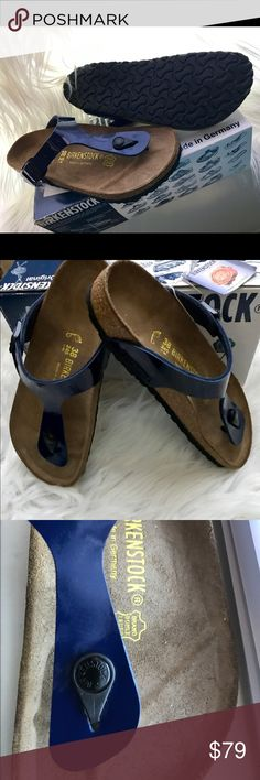 Birkenstock Gizeh Dress blue Gizeh 38 NEW (*) Authentic Birkenstock Gizeh Dress blues patent  Gizeh 38 Includes box and tags Price is firm. No free shipping.  ** please note there is a smear in one of the shoes around the front round button (see last picture) but shoes are brand new. Birkenstock Shoes Sandals