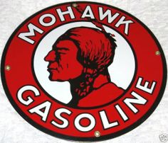 Mohawk Gasoline Porcelain Sign Advertising Mohawk Indian Gasoline Porcelain Sign