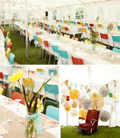 adorable bright colors.  Back drop would be simple to make, as would banner.  flowers just in jar.