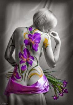 Large Purple Flower tattoo on woman's