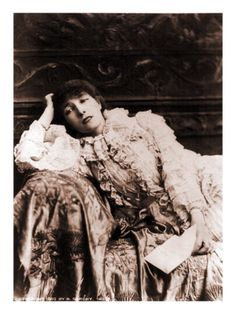 Sarah Bernhardt, French Actress, Reclining on a Divan in an 1880's Portrait