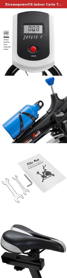 XtremepowerUS Indoor Cycle Trainer Fitness Bicycle Stationary (Blue and black). 22lbs flywheel. Fully adjustable seat, handlebar, & resistence. Chain drive mechanism for smooth and quiet workouts. Ideal for indoor healthy and fitness exercising. Adjustable Height: 29''-35''; Adjustable Height back and forth(adjust the saddle):29.5''-31.5''.