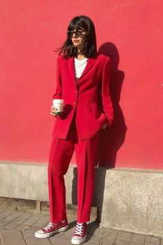 The power color of the season looks best in monochrome. See (and shop) the all-red outfits that feel so festive.