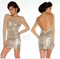 Custom Made Sexy Gorgeous Long Sleeves Crystals Open Back #MillionDollarShoppersAndrea