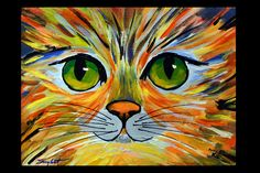 """Colorful Kitty Original Abstract Cat Portrait Painting Acrylic on Canvas 12""""x16"""" by Andrzej Smykot AndyArtGallery by ANDYARTSTUDIO on Etsy"""