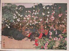 Hiroshi Yoshida, Hollyhock Garden  Woodblock Print, 1927