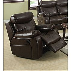 @Overstock - Hilton Brown Bonded Leather Reclining Chair. Indulge in this brown leather reclining chair and experience the ultimate in comfort while you watch your favorite TV shows. With bonded leather upholstery and a super-comfortable plush fill, this chair would make a luxurious addition to any home.http://www.overstock.com/Home-Garden/Hilton-Brown-Bonded-Leather-Reclining-Chair/6581238/product.html?CID=214117 $369.99