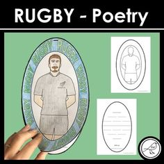 A fun poetry writing resource for your students to use when looking at the sport of RUGBY. Great to use during sport studies or times such as the Rugby World Cup. Two oval (rugby ball shaped) pieces of paper are stapled together at the top. The bottom piece displays the poem and the top piece has ... Writing Resources, School Resources, Teaching Resources, Literacy Games, Classroom Activities, Example Of Poem, Cinquain Poems, Types Of Poems, Rugby World Cup