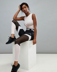 7954cbdaccd9 Active essential banded leggings with pink waistband by Puma  puma ...