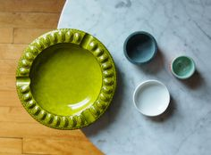 Chartreuse Ceramic Dish / Vintage Mid Century Modern by nomadhouse