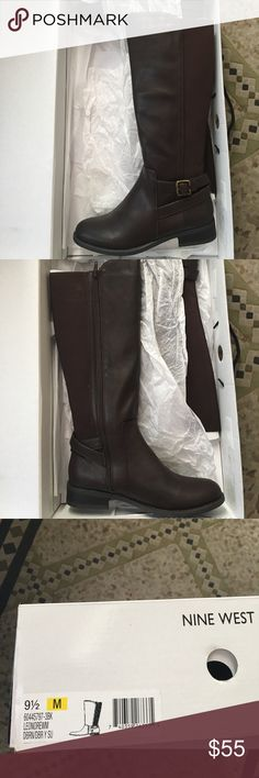 NWT Nine West Lenore Tall Riding Boot 9.5M NWT Nine West Lenore Tall Riding Boot 9.5M, Dark Brown. Original box. Nine West Shoes Heeled Boots