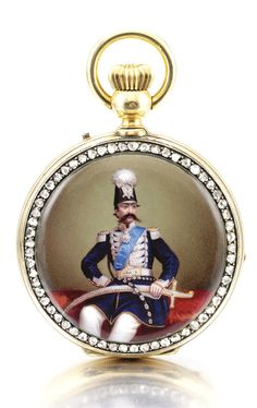 Unsigned  AN 18K YELLOW GOLD AND ENAMEL HUNTING CASED  KEYLESS WATCH WITH PORTRAIT OF THE SHAH OF PERSIA NASER AL DIN SHAH QAJAR CIRCA 1860