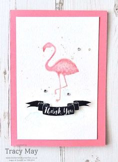 Pop of Paradise stamp set has a flamingo, and simple instructions show you how to use watercolors to create this handmade thank you card. Make a set using cool colors!