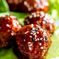 Korean Bbq Meatballs, Sweet Meatballs, Ground Beef Meatballs, Beef Meatball Recipe, Meatball Sauce, Asian Beef, Korean Beef, Korean Food, Gochujang Recipe
