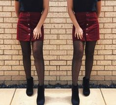 Strumpfhosen outfit Ideas Skirt With Tights Outfit For 2019 Who wears thigh high boots? Tights Outfit Winter, Fall Tights, Winter Dress Outfits, Fall Winter Outfits, Dress And Tights Outfit, Button Up Skirt Outfit, Outfits With Tights, Outfit Summer, Burgundy Skirt Outfit