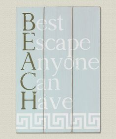 Look what I found on #zulily! Blanched Blue Wooden 'Beach' Wall Sign #zulilyfinds