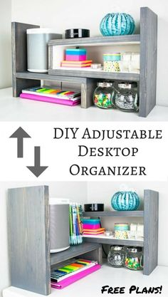 This desktop organizer has multiple configurations making it easy to find the perfect one for your space Get the free woodworking plans easy woodworking project desk or. Woodworking Projects That Sell, Woodworking Patterns, Woodworking Classes, Popular Woodworking, Woodworking Workshop, Woodworking Techniques, Wood Projects For Beginners, Wood Working For Beginners, Diy Wood Projects