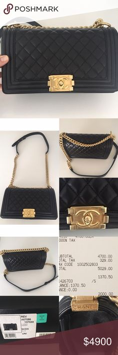 "Chanel - Classic Medium Boy Bag BNWT Chanel - Classic Boy Bag Medium   Chanel - Boy Bag in Medium | Lambskin Black Caviar Quilted Leather Flap Bag & Gold Hardware 2016  Condition: Like new with Original Box, Authenticity Card, Dustbag, & Receipt | Made in France | Retail price: $4,700 | Approx Measurements: 6"" H x 10"" W x 3"" D - Strap Drop 11.5"" 