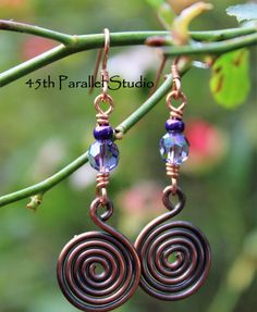Celtic Copper Earrings Purple Copper Earrings Tanzanite
