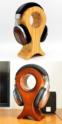 Very Inspirational DIY Headphone Stand Ideas diy headphone stand, simple diy headphone stand, di Woodworking Crafts, Woodworking Plans, Woodworking Furniture, Diy Headphone Stand, Headphone Storage, Headphone Splitter, Headphone Holder, Diy Headphones, Cordless Headphones