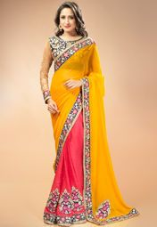 Admyrin Pink Embroidered Saree Online Shopping Store