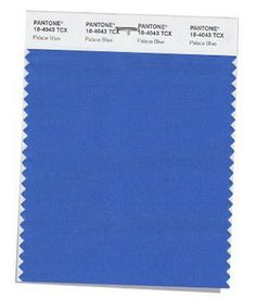 PANTONE 18-4043  Palace Blue  Palace Blue sparkles with energy. Stirring and impressive, a brighter blue for the days ahead.