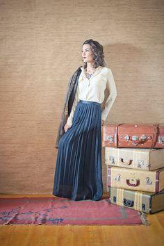 Silk Pleated Maxi Skirt. $75.00, via Etsy.