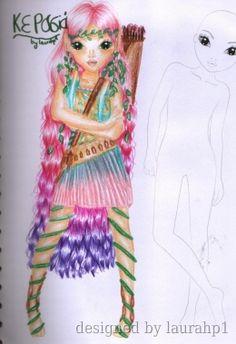 Cherry Nymph- (κερασιά)-Ninfa del cerezo. Creative Studio, Models, Drawing Techniques, Cute Dolls, Coloring Sheets, Colored Pencils, Markers, Princess Zelda, Drawings