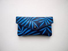 Blue Palm Leaf Leather Sunglass Case